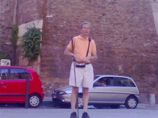 Mike in Italy with the Sendero GPS on a BrailleNote PK