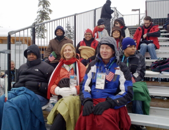 Mike and Jennifer in the stands at the biathlon