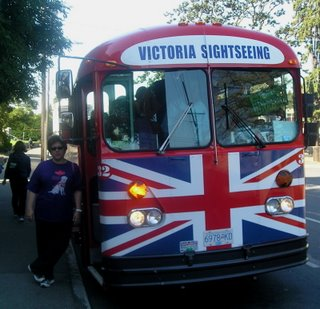 Sheila about to board the Victoria Sightseeing Bus