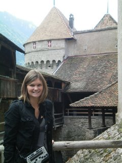 Jamie with the castle behind her