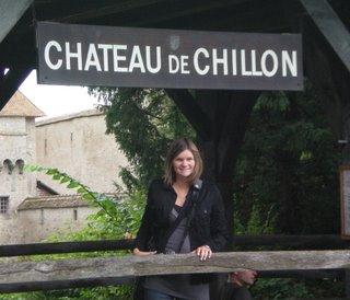 Jamie by the Chateau de Chillon sign