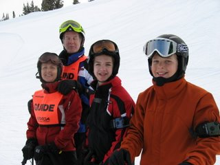 Mike and family on the slopes of a private ski resort in Montana