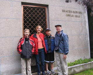 May family in front of the tomb