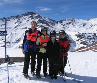 Mike and family skiing at Valle Nevado