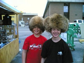Carson and Wyndham in fur hats