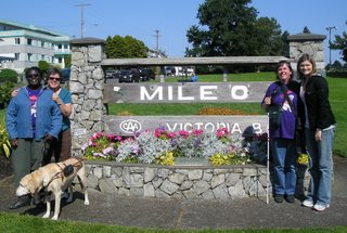 Denna, Sheila, Jamie and Ilona at the Mile '0' sign at the beginning of their adventure