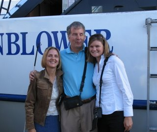 Mike, Jamie, and Jennifer in front of the Hornblower cruise ship