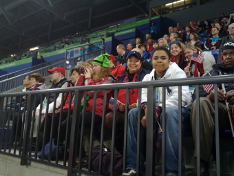Group at the Sledge hockey game