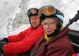 Warren Miller and wife Laurie on the chair lift