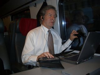 Mike on the train with Sendero GPS