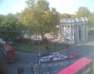 the view of the Marble Arch from Mike's hotel in London