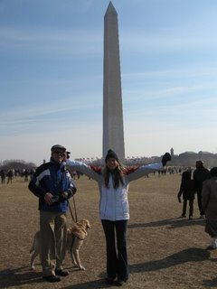 Mike and Sara at the Inauguration on the Mall in front of the Washington Monument
