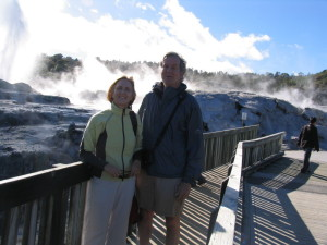 Mike and Jen in front of a geyser