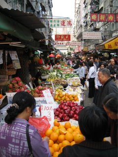 Street markets packed with people