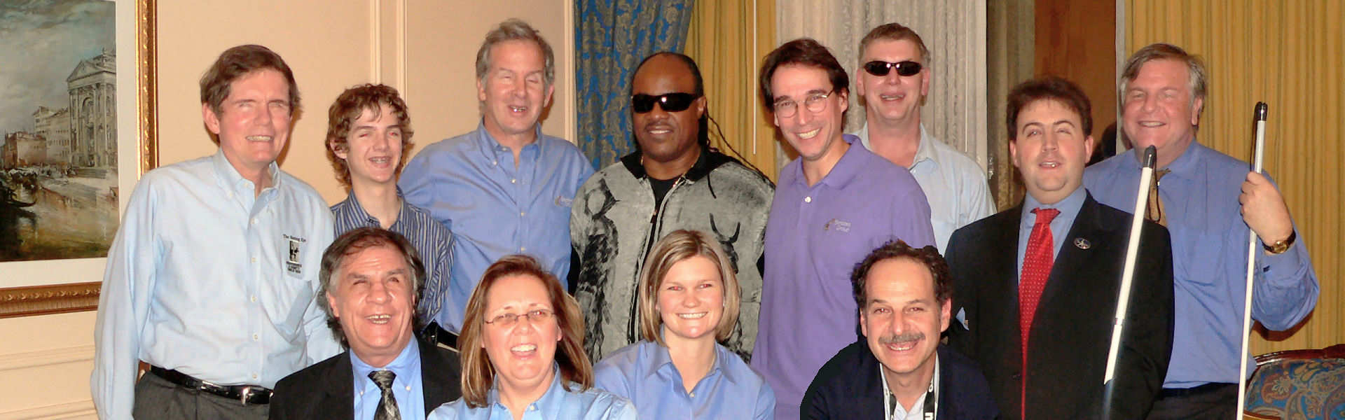 Mike May with Stevie Wonder and Accessibility Group at CES 2009