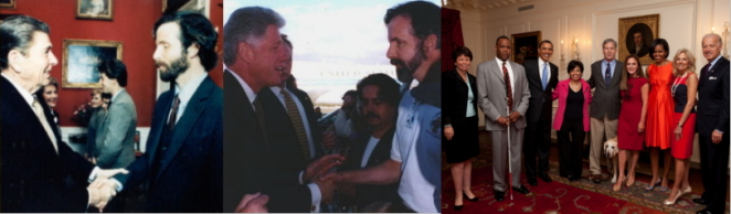 left: Mike and President Reagan, center: Mike and President Clinton, right: Mike in the White House Map Room with President Obama, Vice President Biden and others